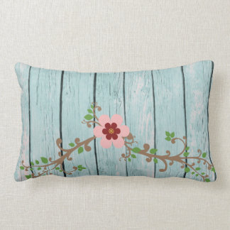 Rustic Pink Flower and Wood Background Throw Pillows