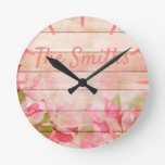 Rustic Pink Flowers on Wood Round Clock