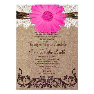 Rustic Pink Gerber Daisy Lace Wedding Invitation Personalized Invite