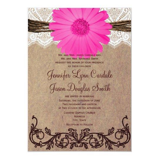 Hot Pink Gerbera Daisy White Wedding Invitation 5 X 7: Rustic Pink Gerber Daisy Lace Wedding Invitation