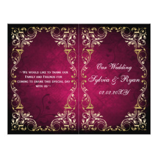 Rustic, pink gold regal bookfold Wedding program Flyer