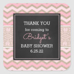 Rustic Pink Lace Baby Shower favor sticker 3656