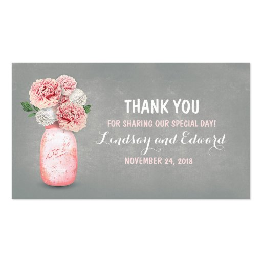 Diy Wedding Favor Tags Templates : Rustic Pink Mason Jar DIY Wedding Favor Tag Double-Sided Standard ...