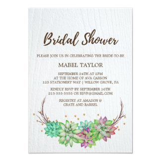 Rustic Pink & Mint Floral Succulent Bridal Shower Card