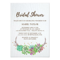 Rustic Pink & Mint Floral Succulent Bridal Shower Invitation