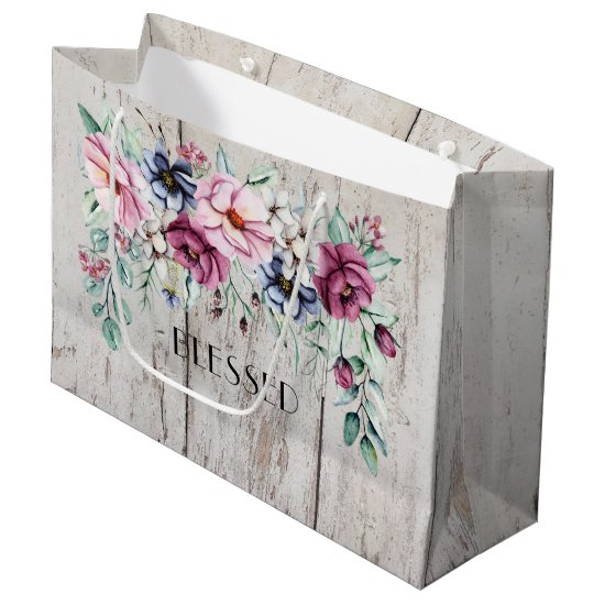 Rustic Pink & Navy Floral Barn Wood Blessed Large Gift Bag