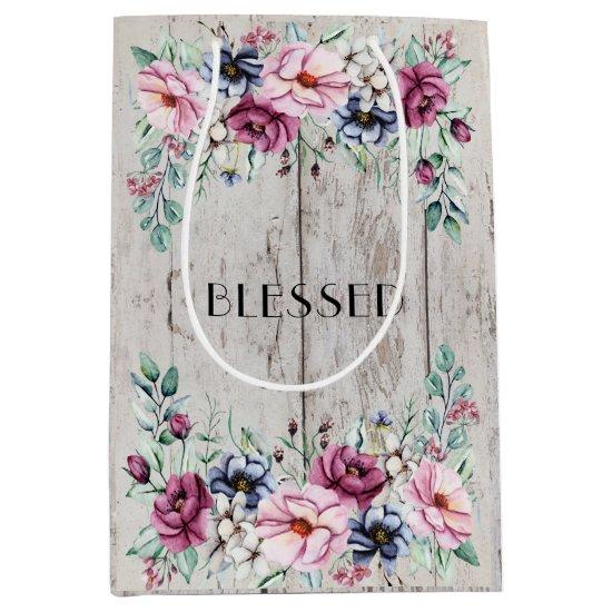 Rustic Pink & Navy Floral Barn Wood Blessed Medium Gift Bag