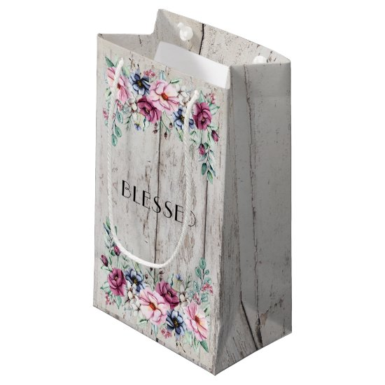Rustic Pink & Navy Floral Barn Wood Blessed Small Gift Bag