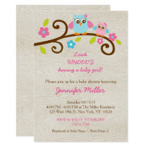 Rustic Pink Owl Baby Shower Card