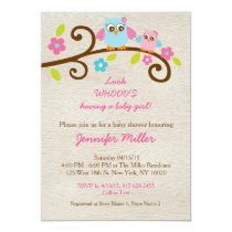 Rustic Pink Owl Baby Shower Invitations