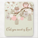 "Rustic Pink Owls and Birdcages Mousepad<br><div class=""desc"">Rustic Pink Owls and Birdcages Mouse pad</div>"