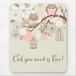 """Rustic Pink Owls and Birdcages Mousepad<br><div class=""""desc"""">Rustic Pink Owls and Birdcages Mouse pad</div>"""
