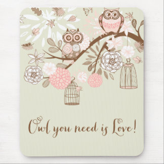 Rustic Pink Owls and Birdcages Mousepad