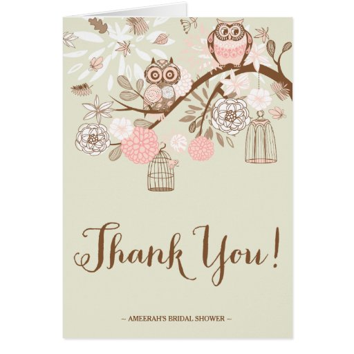 Rustic Pink Owls and Birdcages Thank You Note Card