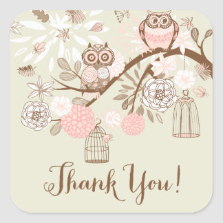 Rustic Pink Owls and Birdcages Thank You Sticker