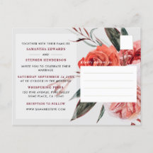 Rustic Pink/Peach/Red Watercolor Floral Wedding Invitation Postcard