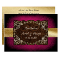rustic pink regal wedding Invitation cards