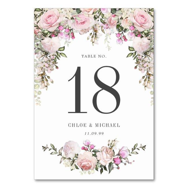 Rustic Pink Rose Floral Wedding Table Number
