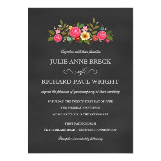 "Rustic Pink Rose Garden Chalkboard Invitations 4.5"" X 6.25"" Invitation Card"
