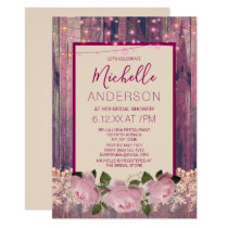 Rustic Pink Rose Lace String  Lights BRIDAL SHOWER Invitation