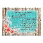 Rustic Pink Rose Turquoise Burlap Wedding Invite