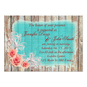 Rustic Pink Rose Turquoise Burlap Wedding Invite 5
