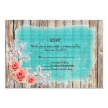 Rustic Pink Rose Turquoise Burlap Wedding RSVP 3.5x5 Paper Invitation Card