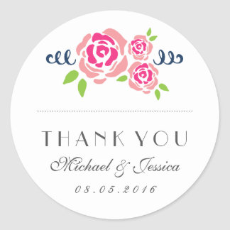 Rustic Pink Roses Wedding Thank You Sticker