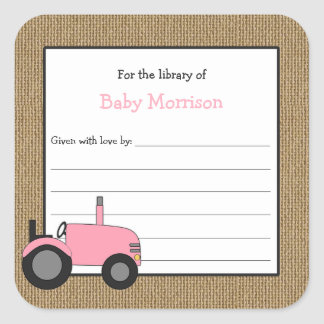 Rustic pink tractor baby shower bookplate