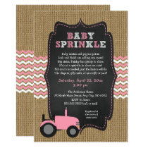 Rustic pink Tractor Baby Sprinkle Invitation