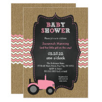 Rustic Pink Tractor girl Baby shower Card