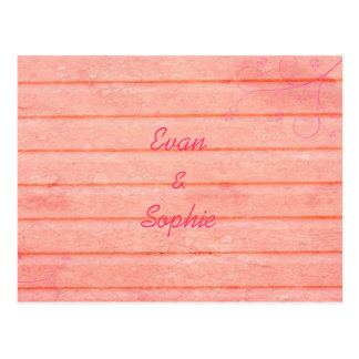 Rustic Pink Wood Engagement Announcement Postcard