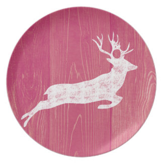Rustic Pink Wood With Vintage Deer Plate