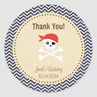 Rustic Pirate Birthday Thank You Sticker Blue