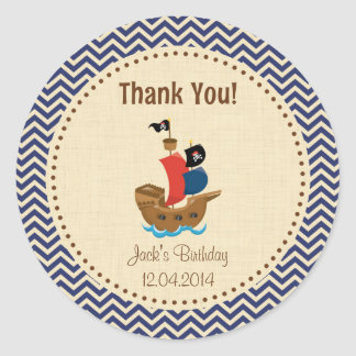 Rustic Pirate Ship Birthday Thank You Sticker Blue