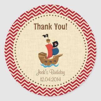 Rustic Pirate Ship Birthday Thank You Sticker Red