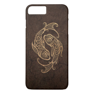 Rustic Pisces Zodiac Sign on Stone Effect iPhone 7 Plus Case