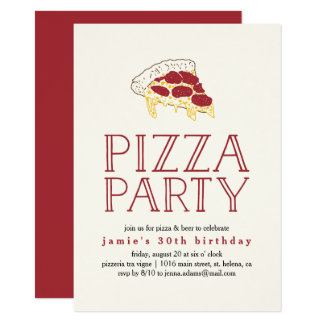 rustic pizza party invitation - Pizza Party Invitation
