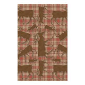 Rustic plaid brown moose stationery