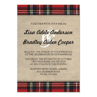 Rustic Plaid Burlap Country Wedding Invitation