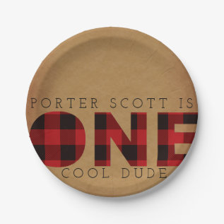 Rustic Plaid First Birthday Party Custom Paper Plate at Zazzle