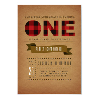 Rustic Plaid First Birthday Party Invite