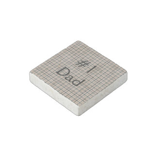 Rustic Plaid Stone Magnet
