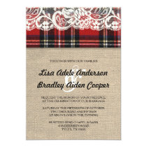 Rustic Plaid Lace Country Wedding Invitation