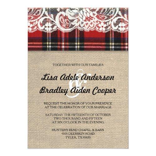rustic plaid lace country wedding invitation - Redneck Wedding Invitations