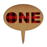 Rustic Plaid Lumberjack | First Birthday Party Cake Topper