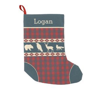 Rustic Plaid Woodland Animals Teal Monogram Name Small Christmas Stocking