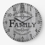Rustic Plank Wood Anniversary Family Name Custom Large Clock