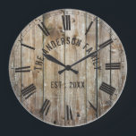 "Rustic Planks Wood Custom Family Name Farmhouse Large Clock<br><div class=""desc"">Farmhouse style wall clocks for the perfect addition to give your kitchen a country decor look. Personalize with family name and established year for an unique farmhouse wall clock.</div>"