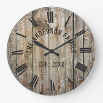 Rustic Planks Wood Custom Family Name Farmhouse Large Clock